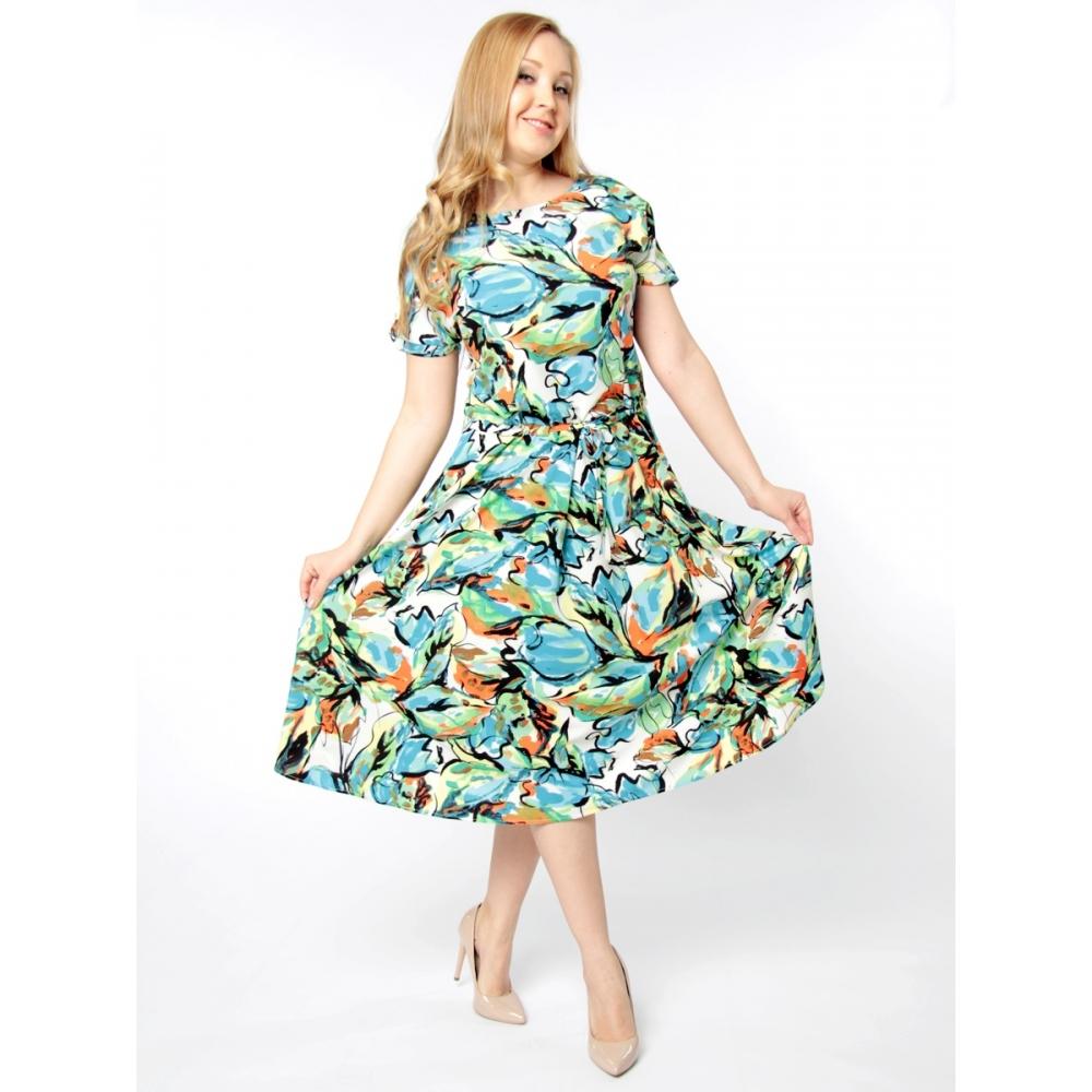 Платье Мишель б40 вискоза цвет зеленый, синий