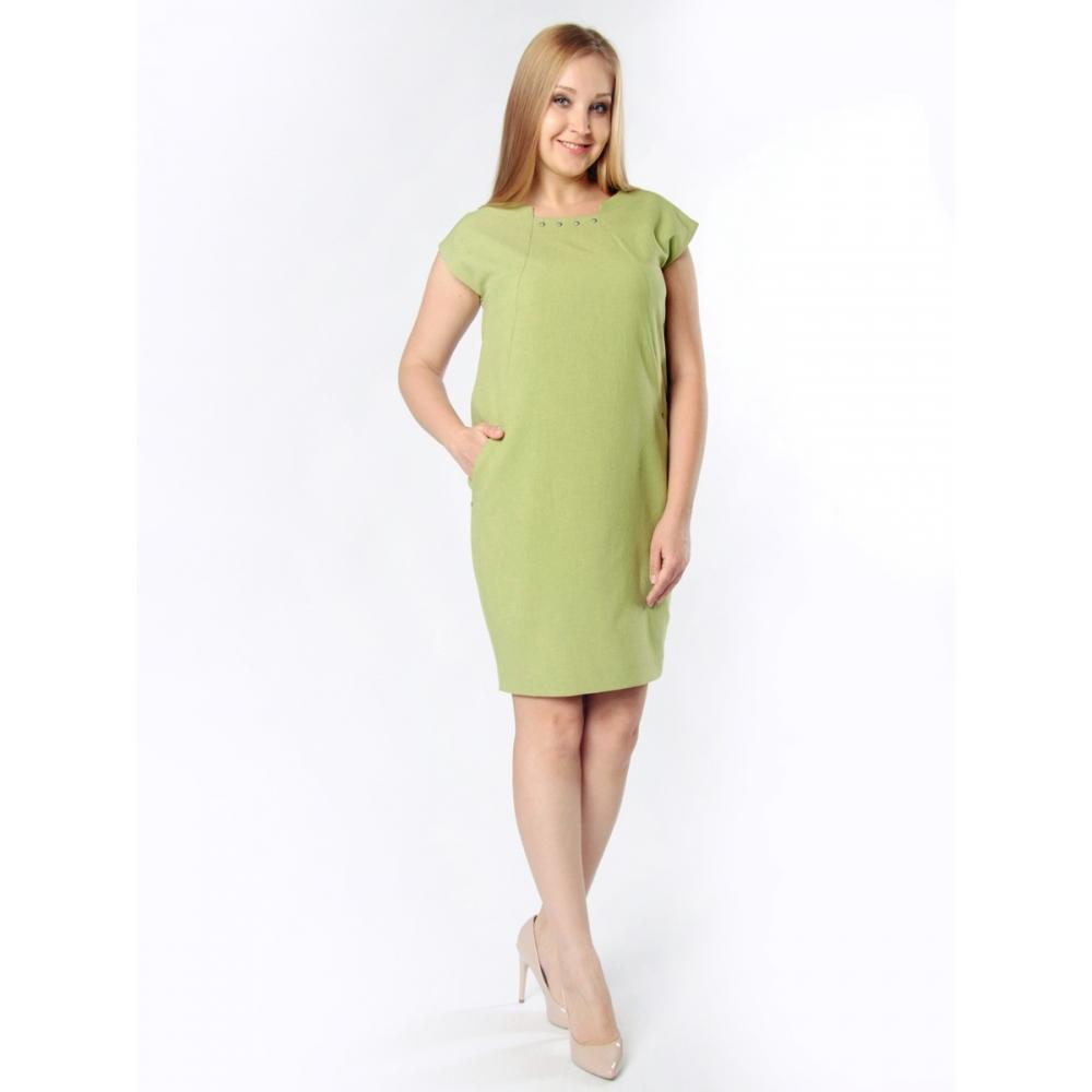 Платье Ирма а16 льняная смесовая цвет зеленый