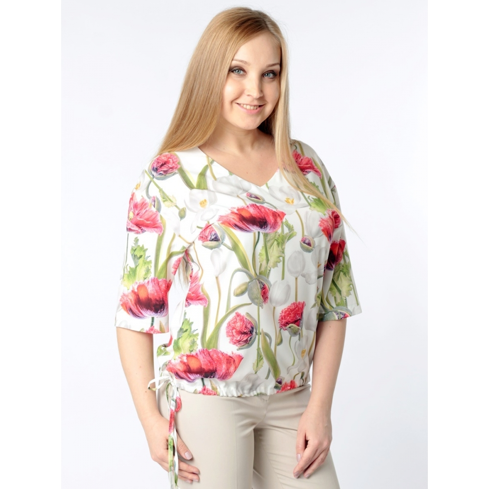 Блузка Эмилия б38 поливискозный шелк цвет белый