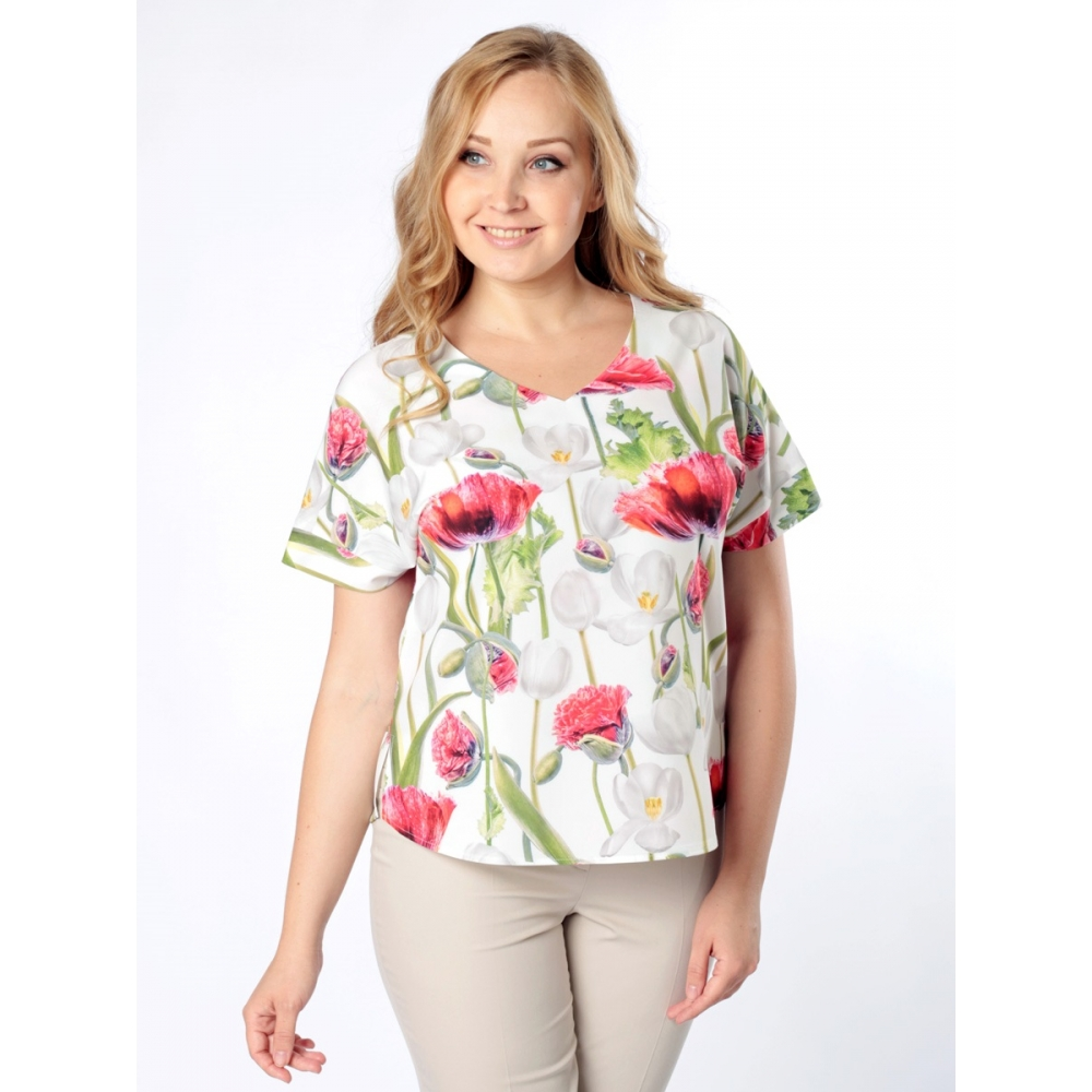 Блузка Амалия б38 поливискозный шелк цвет мультиколор