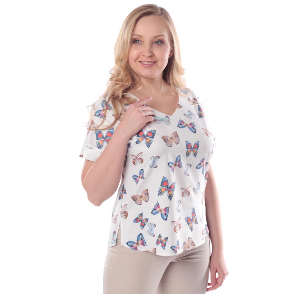 Блузка Амалия свободного покроя №3 бб01 поливискозный шелк цвет молочный