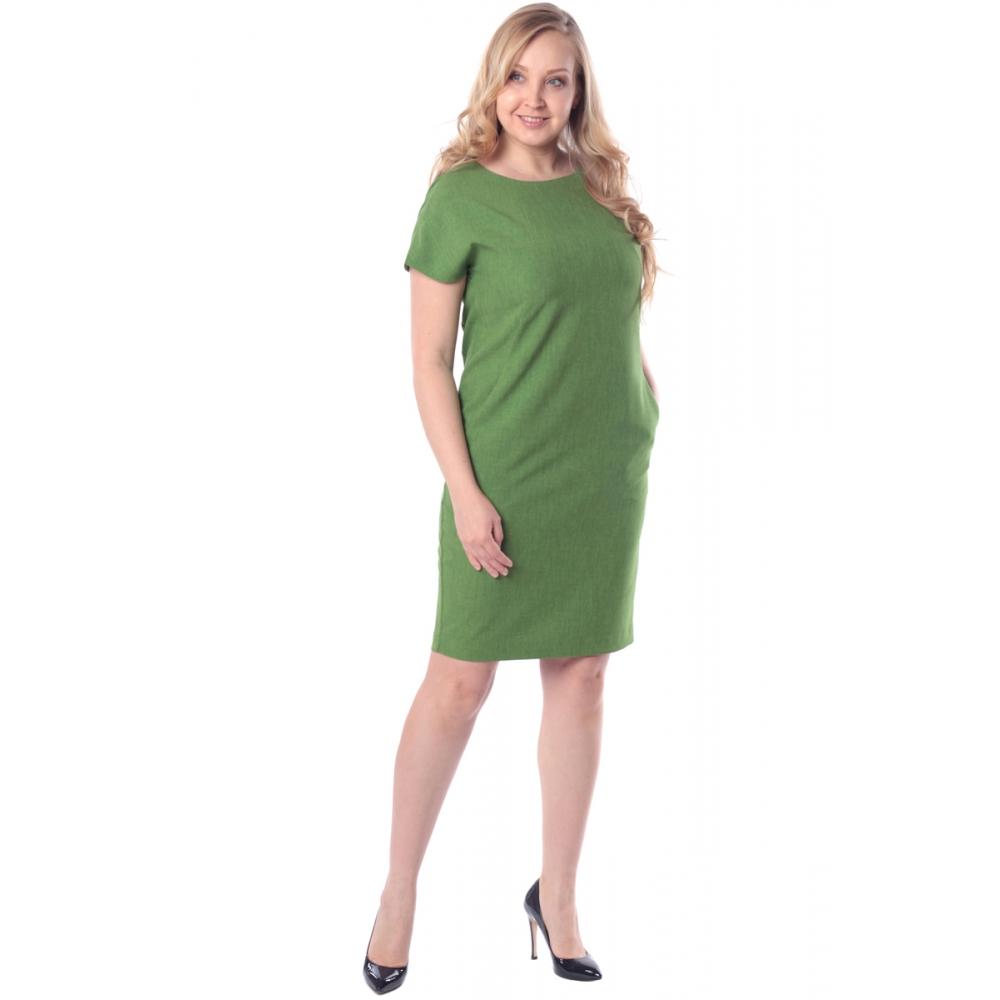 Платье Луиза №2 а32 льняная смесовая цвет зеленый