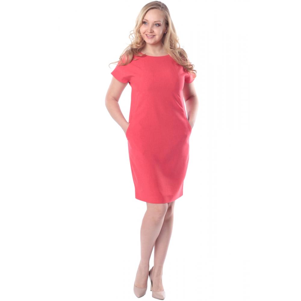 Платье Луиза №2 а55 льняная смесовая цвет коралловый