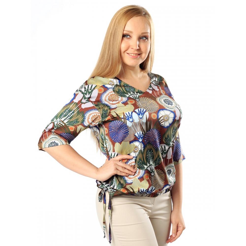Блуза Эмилия поливискозный шелк цвет шоколадный, голубой