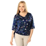 Блузка Эмилия б84 поливискозный шелк цвет синий