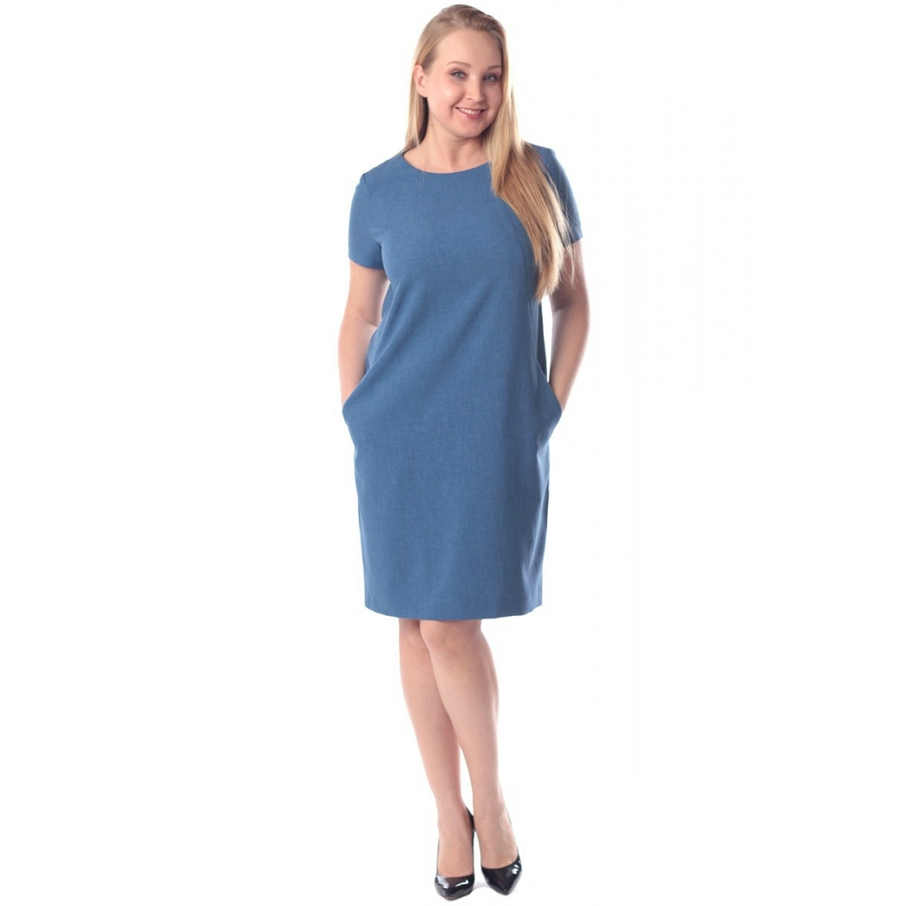 Платье Дана №2 а18 лен цвет синий деним