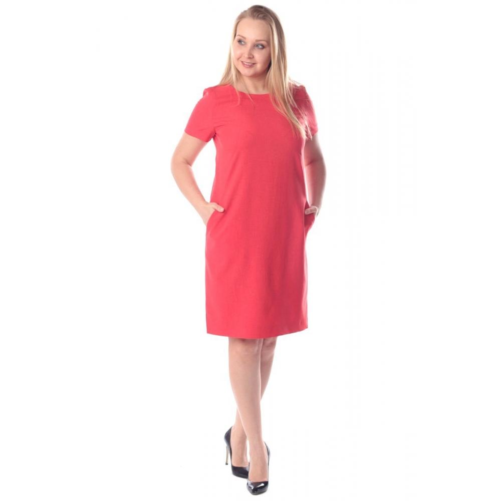 Платье Дана №2 а55 лен цвет алый