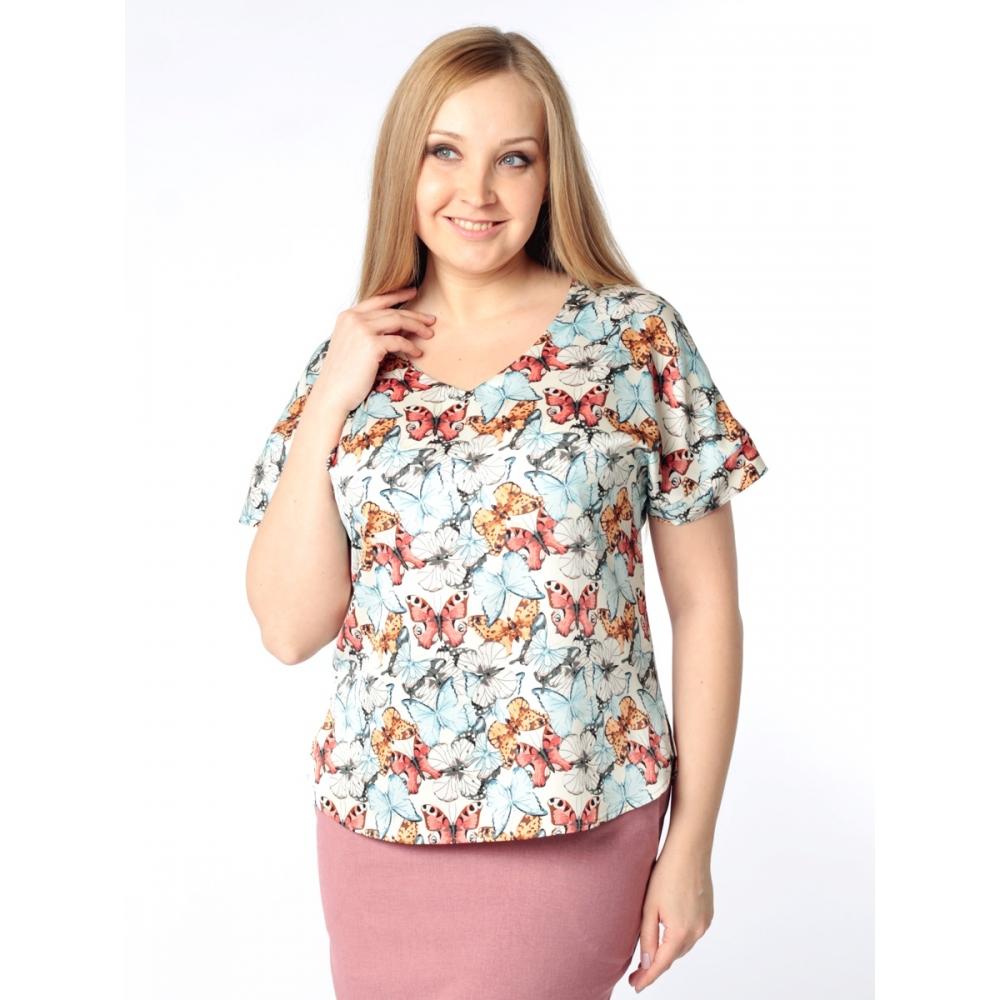 Блузка Амалия б54 поливискозный шелк цвет мультиколор