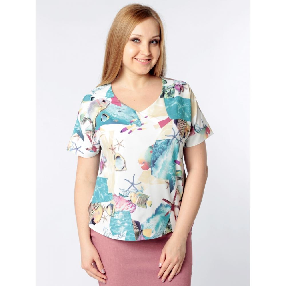 Блузка Амалия б53  поливискозный шелк цвет мультиколор